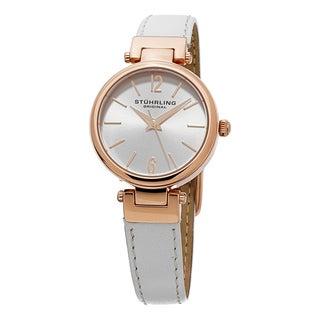 Stuhrling Original Women's Classique Quartz White Leather Strap Watch