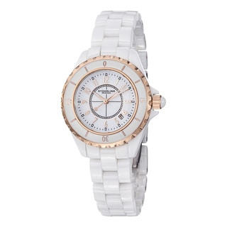 Stuhrling Original Women's Vogue Quartz White Ceramic Bracelet Watch