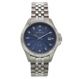 Croton Men's CN307528SSBL Stainless Steel Silvertone Diamond Marker Watch