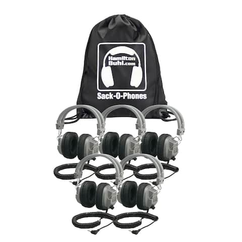 Sack-O-Phones, 5 SC7V Deluxe Headphones w/ Volume Control in a Carry Bag