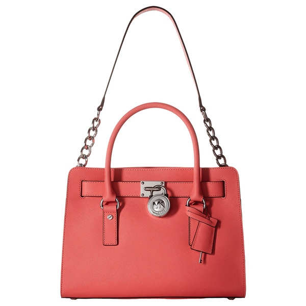 3fdc36f47a Shop Michael Kors Hamilton Coral East West Leather Satchel Handbag ...