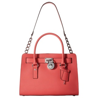 Michael Kors Hamilton Coral East/West Leather Satchel Handbag