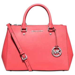 Michael Kors Sutton Medium Coral Satchel Handbag