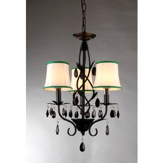 Keira 3-light Black 16-inch Crystal Chandelier
