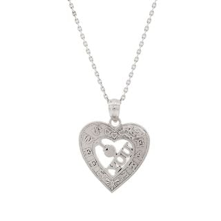 Pori Sterling Silver 'Sweet Heart I Love You' Pendant Necklace