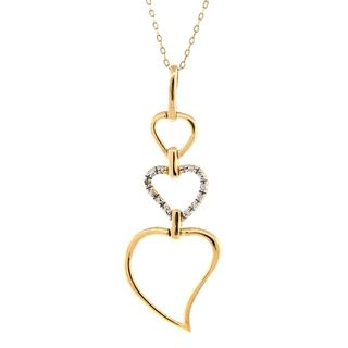 Pori 18k Goldplated Silver Diamond Accent Graduated Hearts Pendant Necklace