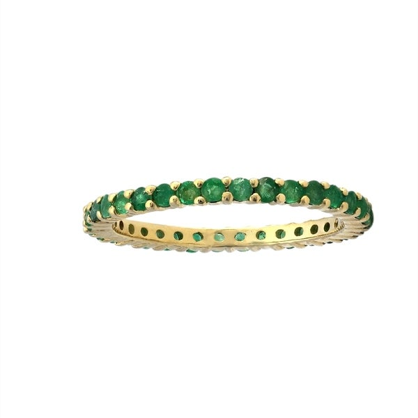 10k Yellow Gold 7/8ct Natural EmeraldStackable Eternity Band Ring