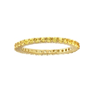 Beverly Hills Charm 10k Yellow Gold 1 1/8ct Natural Yellow Sapphire Stackable Eternity Band Ring