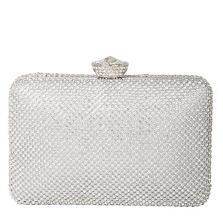Rimen and Co. Rhinestone Crystal Hard Box with Hidden Long Strap Clutch Evening Bag