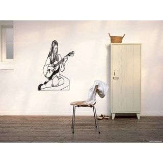 Girl with guitar Wall Art Sticker Decal