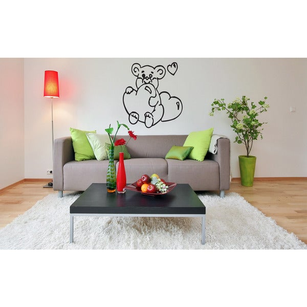 Cute Bear Heart Wall Art Sticker Decal