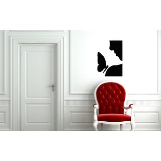 Silhouette Woman and Butterfly Wall Art Sticker Decal