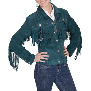 Scully Leather Women's Boar Suede Fringe and Bead Jacket