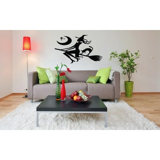Halloween witch on a Broomstick Wall Art Sticker Decal