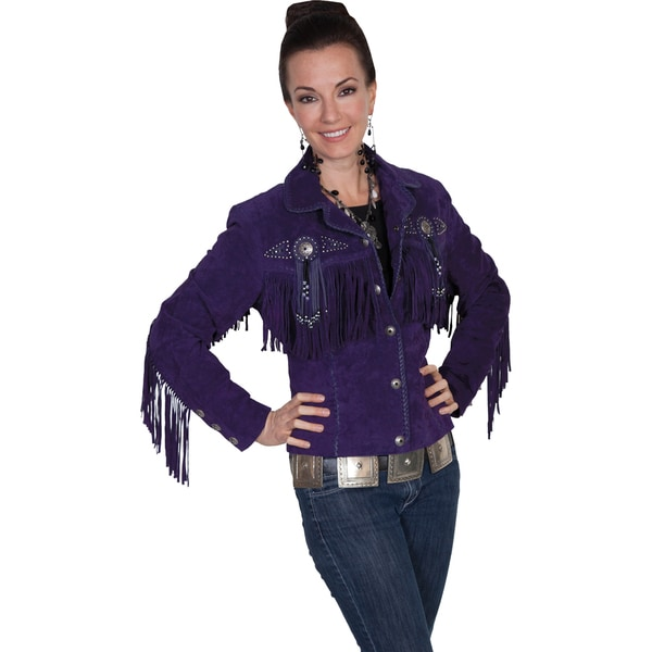 Shop Scully Women S Leather Boar Suede Purple Fringe And