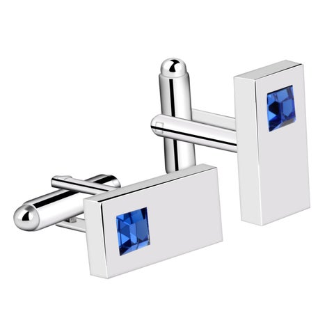 Zodaca Mens Silvertone Rectangle with Blue Rhinestone Cufflinks