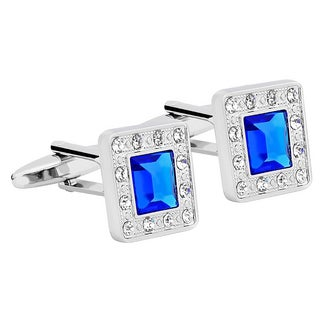 Zodaca Mens Silver Square Jewels with Blue Diamond Cufflinks