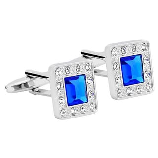 Zodaca Mens Silver Square Jewels with Blue Diamond Cufflinks|https://ak1.ostkcdn.com/images/products/11191367/P18182713.jpg?impolicy=medium