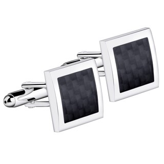 Zodaca Mens Silver Frame and Black Argyle Pattern Cufflinks