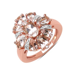 Olivia Leone 14K Rose Gold Plated 3.04 Carat Genuine Morganite and White Topaz .925 Sterling Silver Ring