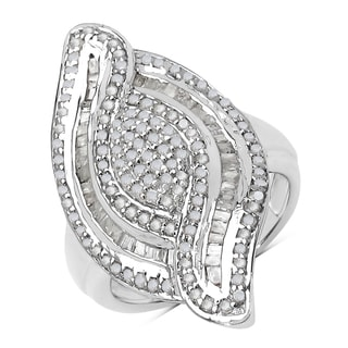 Olivia Leone Sterling Silver 1 1/5ct TDW White Diamond Ring
