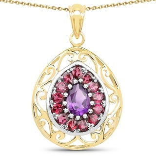 Malaika 14K Yellow Gold Plated 3.90 Carat Amethyst and Rhodolite .925 Sterling Silver Pendant