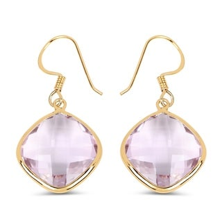 Olivia Leone 14K Yellow Gold Plated 27.50 Carat Genuine Pink Amethyst .925 Sterling Silver Earrings
