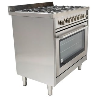 Cosmo COS-965AGF 36-inch Gas Range with 5 Italian Made Stainless Steel Burners, Broiler and Motorized Rotisserie