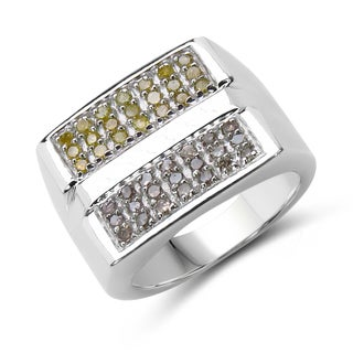 Malaika Sterling Silver 5/8ct TDW Champagne and Yellow Diamond Ring