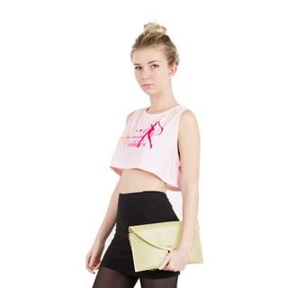 Zodaca Women's Beige Faux Leather Classic Fashion Messenger Clutch Bag with Detachable Chain