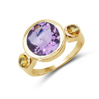Malaika 14K Yellow Gold Plated 3.90 Carat Genuine Amethyst and Citrine .925 Streling Silver Ring