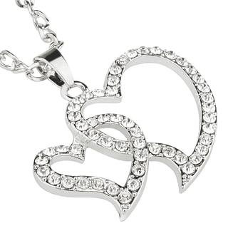 Zodaca Silver Alloy/ Rhinestones Heart Pendant Necklace