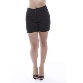 Soho Women Lady Petite Black Diamond Pattern Cuffed Flat-Front Shorts