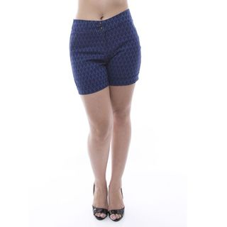 Soho Women Lady Petite Blue Diamond Pattern Cuffed Flat-Front Shorts