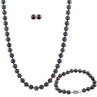 Black Freshwater Pearl 3-piece Set