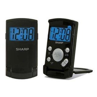 Sharp SPC457 Black Digital Display Ultra Thin Folding Travel Alarm Clock