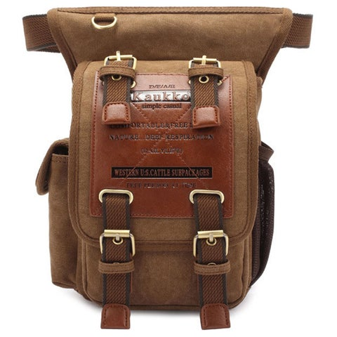 Kaukko Unique Vintage Canvas Waist Backpack Motorcycle Bag