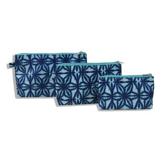 All For Color Indigo Batik 3-Piece Cosmetic Set
