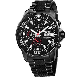 Akribos XXIV Men's Bold Chronograph Two-Tone Stainless Steel Black Bracelet Watch