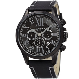 Akribos XXIV Men's Quartz Dual-time Multifunctional Leather Black Strap Watch