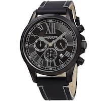 Akribos XXIV Men's Quartz Dual-time Multifunctional Leather Black Strap Watch