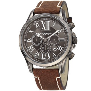 Akribos XXIV Men's Quartz Dual-time Multifunctional Leather Silver-Tone Strap Watch - brown