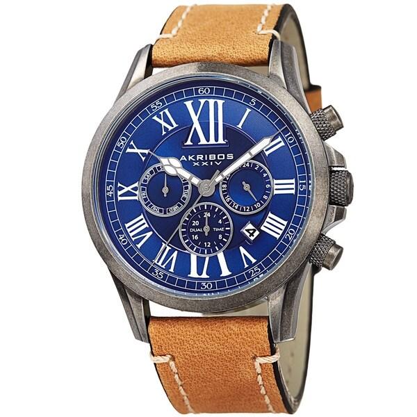 Akribos XXIV Men's Quartz Dual-time Multifunctional Leather Silver-Tone Strap Watch - BLue