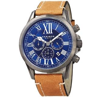 Akribos XXIV Men's Quartz Dual-time Multifunctional Leather Silver-Tone Strap Watch