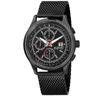 August Steiner Men's Swiss Quartz Dual-Time Multifunction Stainless Steel Mesh Black Bracelet Watch