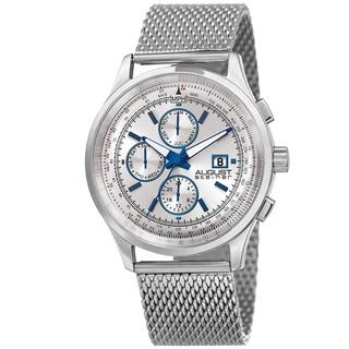 August Steiner Men's Swiss Quartz Dual-Time Multifunction Stainless Steel Mesh Silver-Tone Bracelet Watch