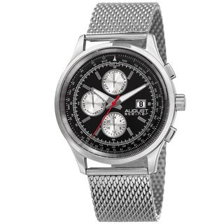 August Steiner Men's Swiss Quartz Dual-Time Multifunction Stainless Steel Mesh Silver-Tone Bracelet Watch - silver