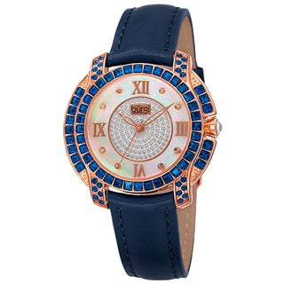 Burgi Women's Quartz Square-Cut Swarovski Crystals Leather Blue Strap Watch