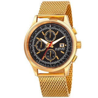 August Steiner Men's Swiss Quartz Dual-Time Multifunction Stainless Steel Mesh Gold-Tone Bracelet Watch