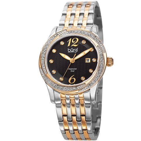Burgi Women's Quartz Diamond & Swarovski Accented Dial Stainless Steel Two-Tone Bracelet Watch